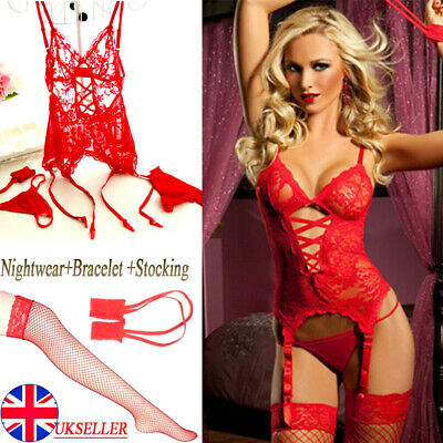 Women Sexy Lingerie Lace Babydoll G-String Dress Thong Red Underwear Sleepwear • 3.88£