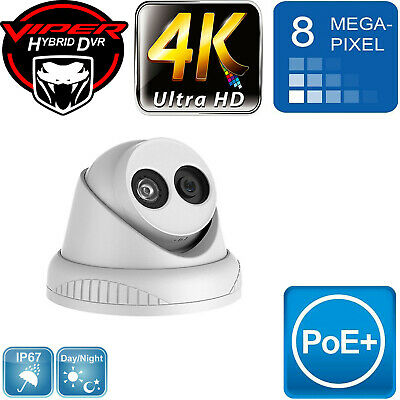 8MP IP POE CCTV TURRET DOME 4K NIGHT VISION HD WHITE IN/OUTDOOR CAMERA UK Specs • 99£