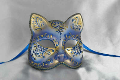 Blue Gatto Fiore Gold - Animal Masquerade Cat Mask For Venetian Ball • 39.50£