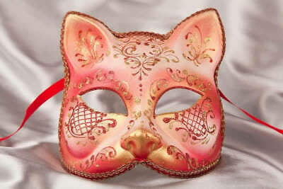 Red Gatto Fiore Gold - Animal Masquerade Cat Mask For Venetian Ball • 39.50£