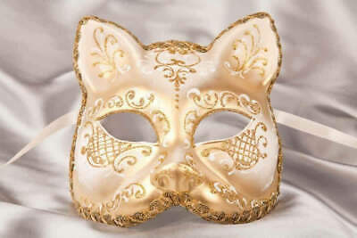 White Gatto Fiore Gold - Animal Masquerade Cat Mask For Venetian Ball • 39.50£