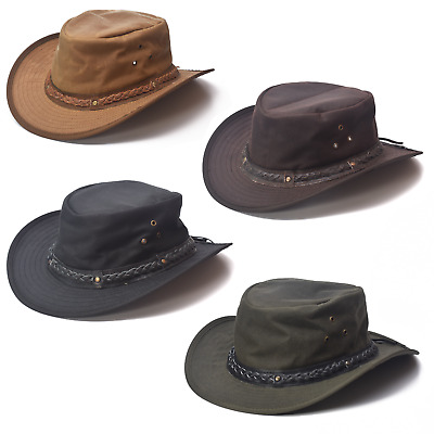 Adults Oil Skin Wax Australian Bush Hat With Leather Braided Band Olive Or Brown • 24.95£