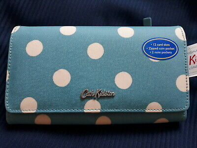 Cath Kidston Large Foldover Wallet Button Spot Soft Teal Blue • 20.99£