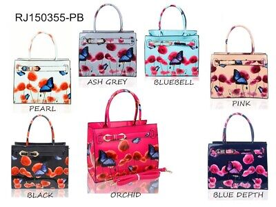 £19.99 • Buy Women's Poppy Flower Butterfly Print Patent Leather Top Handle Hand Bag Tote Bag