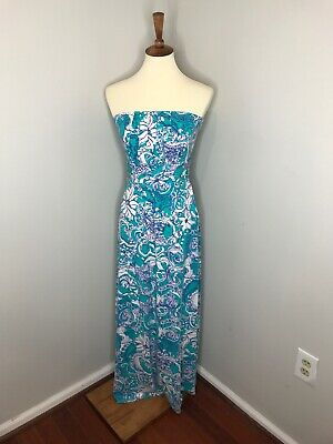 Lilly Pulitzer Strapless Blue Floral Print Maxi Dress Stretch  Extra-Small XS • 24.99$