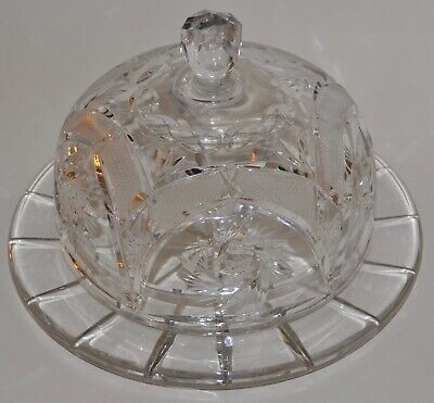 RARE - American Brilliant ABP Cut Glass Signed Libbey Covered Dome Cake Plate  • 44.99$
