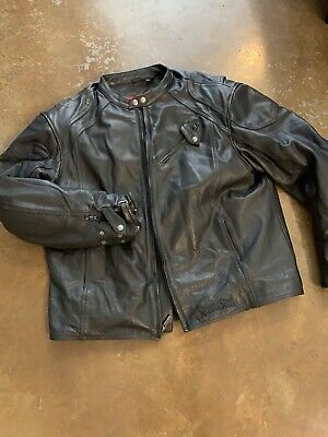 Street And Steel Leather Biker Vintage Jacket Black 3X With Lining & Armor  • 99$