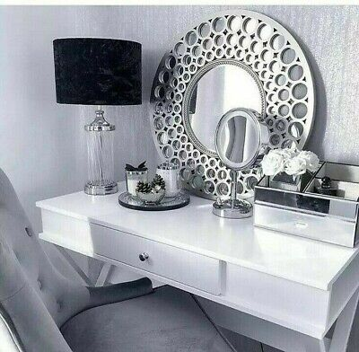 63cm LARGE SILVER Round Holed Wall Mirror Bath Moroccan Style Home Decor New • 34.95£