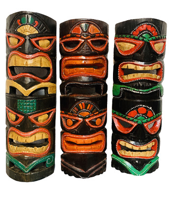 Tribal Tiki Mask Wooden Wall Hanging Plaque Hand Carved Painted Gloss 40cm • 15.80£