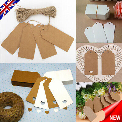 50/100 Scallop Rectangular Kraft Gift Tags Paper Card Label + Free Strings Party • 2.89£