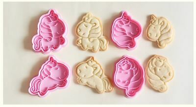 AU24.95 • Buy Set Of 4 Unicorn DIY Handmade Cookie Baking Dough Biscuit Cutter Stamper Stamp
