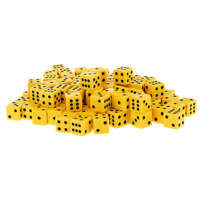 AU21.23 • Buy 100 Packs Acrylic Six Sided Dice D6 Spot Dices For Board Game Toys Yellow
