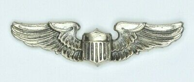 Authentic WWII U.S. Army Air Corps 1  Lapel Pilot Wings Sterling Silver Badge  • 0.99$