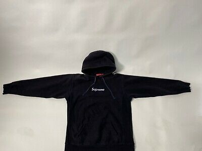 $ CDN670.21 • Buy Authentic Vintage Supreme Fall/Winter 2003 Navy On Navy Box Logo Hoodie( Large)