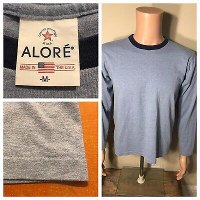 $ CDN29.99 • Buy Vintage Alore Ringer T-shirt Blank Single Stitch Made In USA 50/50 Heather Blue