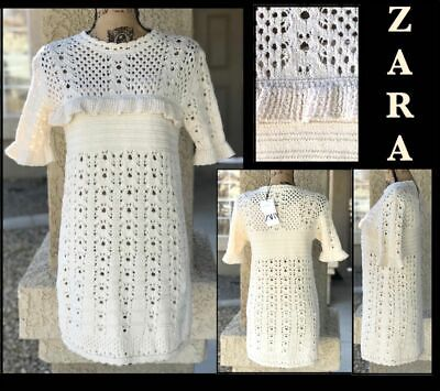 $45 • Buy Zara Ivory Lined Knit Dress Size Small 6771/017 Super Cute