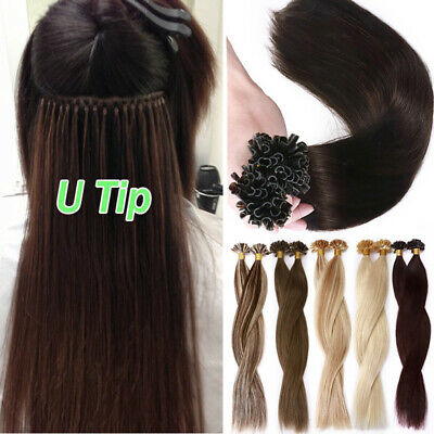 1G U Nail Tip Real Remy Human Hair Extensions Pre Bonded Keratin Thick Brown 8A • 22.50$