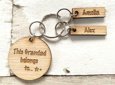 Personalised Keyring 'This Grandad Belongs To....' Wooden Gift For Him / Present • 5.50£