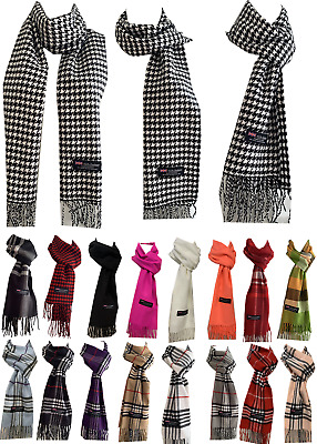 $6.45 • Buy Winter Womens Mens 100% Cashmere Wool Wrap Scarf Scotland Made Plaid Scarves