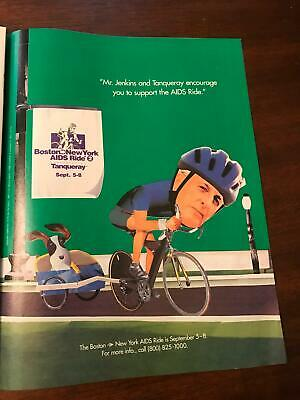 1996 VINTAGE 8X10 PRINT Ad TANQUERAY GIN Mr Jenkins AIDS Bicycle Ride BOSTON-NY • 7.20£