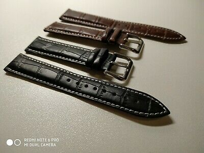 LEATHER DEPLOYMENT BUCKLE WATCH STRAP FOR OMEGA SEAMASTER SPEEDMASTER 18-24 Mm • 9.50£