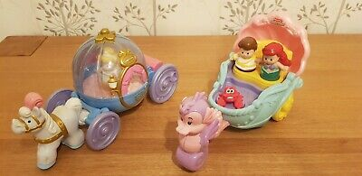Little People Disney Princess Cinderella Coach And Ariel Carriage With Figures • 18£