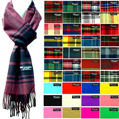 $7.99 • Buy Mens Womens Wool Check Scarf Scotland Made Warm Plaid Wool 100% CASHMERE Scarves