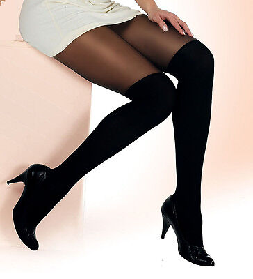MOCK SUSPENDER TIGHTS   PaLa  With Imitating Knee Sock Pattern • 3.99£