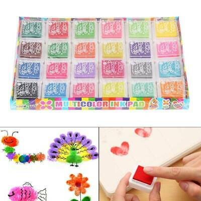 Set Of 24 Colors Rubber Stamps Pigment Ink Pads For Paper Wood Fabric Craft New • 4.29£