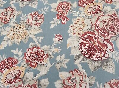 100% Cotton Fabric, Shabby Chic Floral Fabric, Duck Egg,  Per Meter • 10£