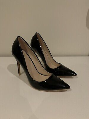 Missguided Gloss Black Court Shoes Size 6 • 15£