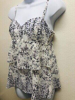 $9.99 • Buy CAbi On The Clock Purple White Cami Tank Top Print Tiered Size XS