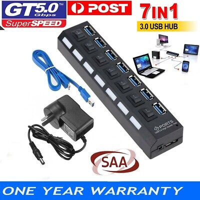 AU20.49 • Buy 7 Port USB 3.0 HUB Powered +High Speed Splitter Extender PC AC Adapter Cable AU