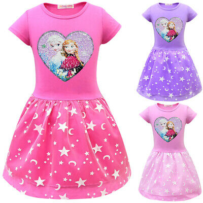 2020 Kids Girls Frozen Dress Short Sleeve Sequin Princess Tutu Dress For Age 3-9 • 9.53£