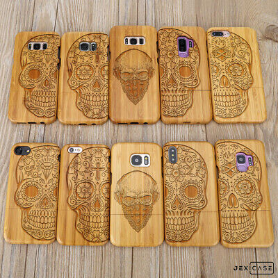 AU18.10 • Buy Bamboo Wood Carved Sugar Skull Phone Case For IPhone 7 8 XR 11 Pro Samsung S8 S9
