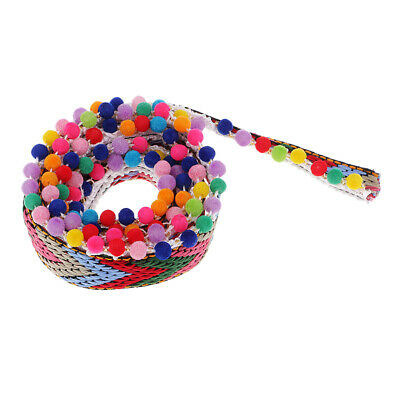 Tassel Rainbow JUMBO Pom Pom Bobble Trim Jacquard Fringe Ribbon -1 Yard 28mm • 3.68£