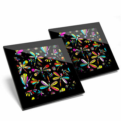 2 X Glass Coasters - Colorful Dragonfly Butterfly Print Home Gift #14410 • 11.99£