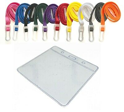 Best Price ID Card Holder Badge Pouch Pocket Clear Pouches And Safety Lanyards • 0.99£