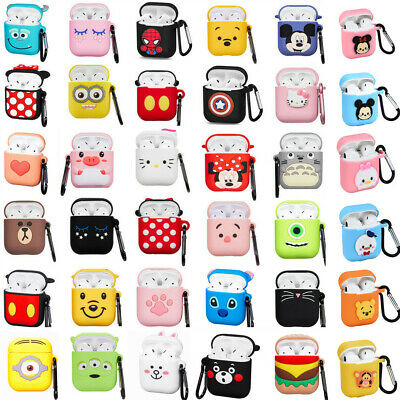 $ CDN5.24 • Buy Cute 3D Cartoon Silicone Cover Case For Airpods Charging Case Carabiner Keychain