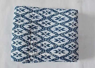 Indian Cotton New Ikat Print Vintage Kantha Quilt Bed Cover Throw Ethnic Blanket • 23.39£