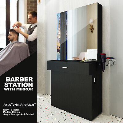 $349.99 • Buy Black Wall Mount Barber Station W/Mirror Dressing Table Beauty Spa Salon Styling