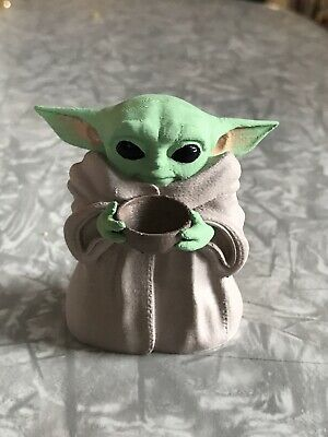 $55 • Buy Baby Yoda With Bowl Fan Art Figurine Toy Hand Painted The Child Manadalorian