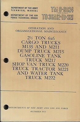 $30 • Buy Historical Book For Truck, Cargo, 2 1/2 Ton, 6x6, M135/M211 Series, Maintenance