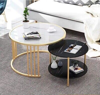AU79 • Buy Imitation Marble Nested Coffee Table Round Metal Frame Side Bedside Table 1&2PCs