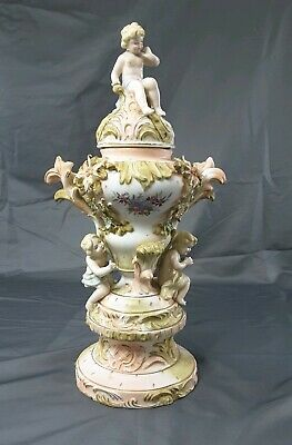 $150 • Buy Vintage 3-piece Ceramic Porcelain Pink Green Cremation Figural Urn Fancy 15  H