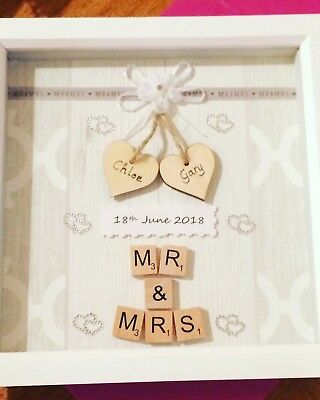 Personalised Wedding Day Scrabble Box Frame Picture • 12£