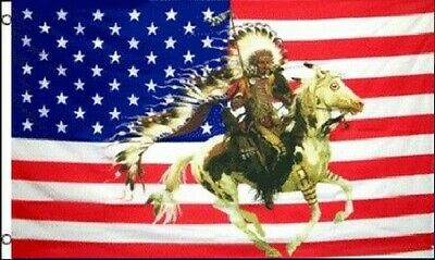 $7.77 • Buy Indian Chief & Horse US Flag 3x5 Ft USA United States Native American Headdress