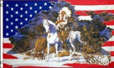 $7.33 • Buy Indian On Horse In Snow US Flag 3x5 Ft USA America Native American Headdress US