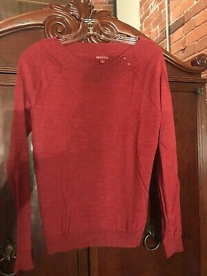 $8.95 • Buy Merona Merino Wool Red Women's Sweater Side Buttons Raglan Long Sleeve Large L