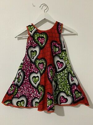 Kids Vintage African Print Dress For Girls Size 3 To 5 • 14.99£